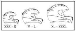Imagen que muestra la calota para cada talla