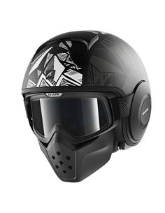 Casco Shark Raw Drak Dante Mat Black White Anthra
