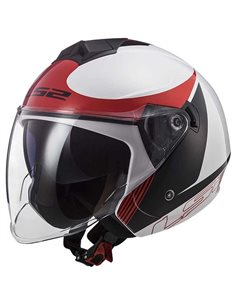 Casco LS2 OF573 Twister II Blanco Negro Rojo