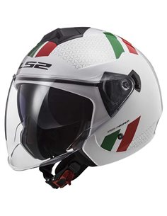 Casco LS2 OF573 Twister II Blanco Verde Rojo