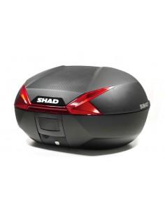 Maleta superior Shad SH47 con sobretapa de carbono y catadrioptico rojo