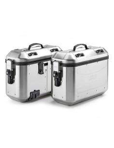 Pack de 2 maletas en aluminio natural, 36 lts. Givi DLMK36